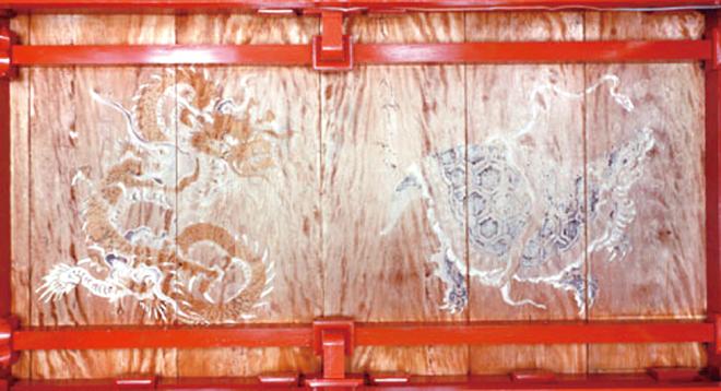 拝殿天井画青龍と玄武
